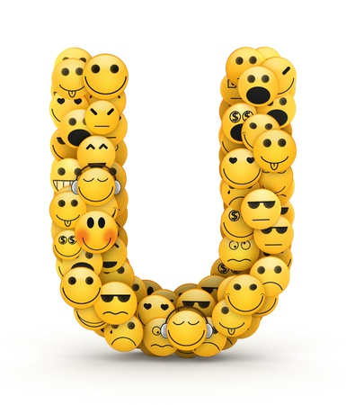glistening: Letter U compiled from Emoticons smiles with different emotions