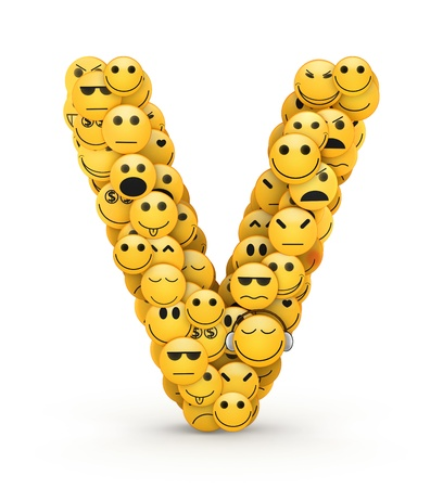 compiled: Letter V compiled from Emoticons smiles with different emotions