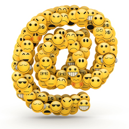 At e-mail symbol compiled from Emoticons smiles with different emotions photo