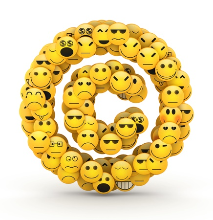 copyright symbol: Copyright symbol compiled from Emoticons smiles with different emotions Stock Photo