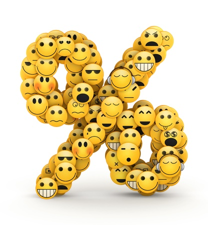 compiled: Percent sign  compiled from Emoticons smiles with different emotions Stock Photo