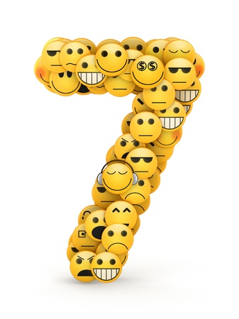 compiled: Number 7 compiled from Emoticons smiles with different emotions Stock Photo