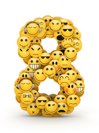 compiled: Number 8 compiled from Emoticons smiles with different emotions