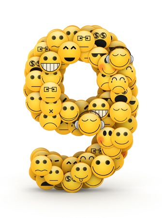 compiled: Number 9 compiled from Emoticons smiles with different emotions