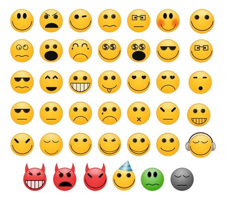 feeling positive: Conjunto de 41 iconos gestuales sonrisas se enfrenta con diferentes estados de �nimo
