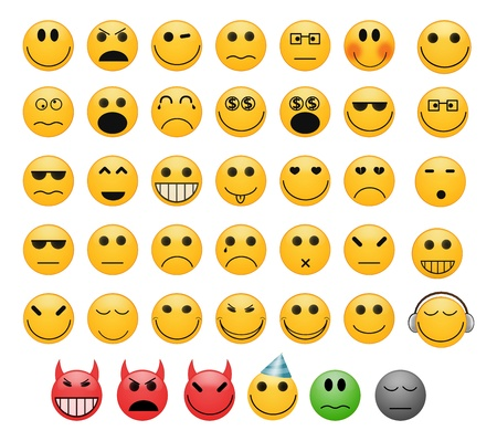 Zestaw 41 uśmiechów emotikony twarze z różnych nastrojów Zdjęcie Seryjne