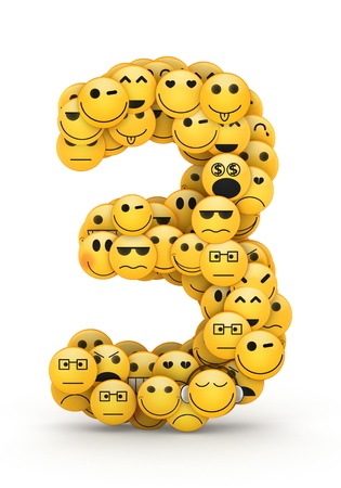 compiled: Number 3 compiled from Emoticons smiles with different emotions