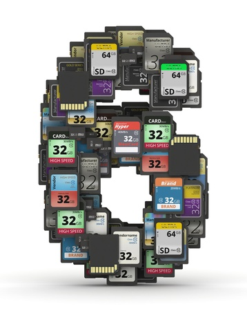 number 6: Number 6 from many memory sd cards,  fictional brands