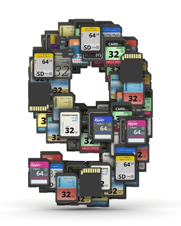 mb: Number 9 from many memory sd cards,  fictional brands Stock Photo
