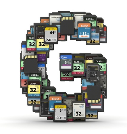 mb: Letter G from many memory sd cards,  fictional brands