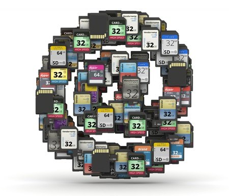 mb: At symbol from many memory sd cards,  fictional brands