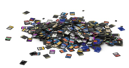 sd: Huge heap of different SD and microSD memory cards  fictitious brand Stock Photo