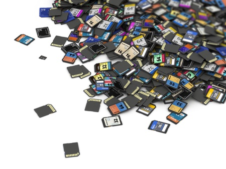 Big heap of different SD and microSD memory cards  fictitious brand