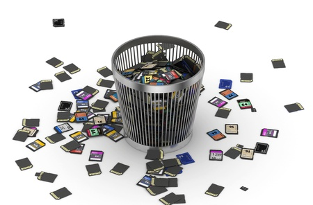 mb: Many of different SD  memory cards  dropped to trashcan, data loss concept