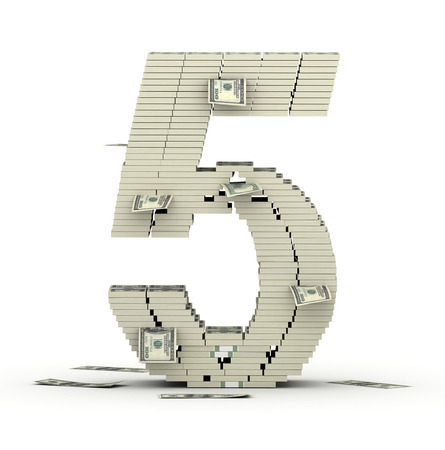 number 5: Number 5, font from dollars paks on white background