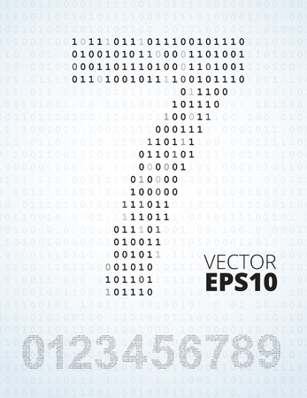 listing: Number 0-9, font from binary code listing, all digits Illustration