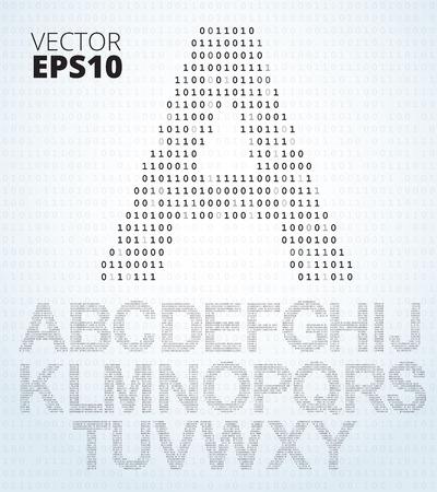 listing: Carta AZ, fuente de listado de c�digo binario, todo el alfabeto Vectores