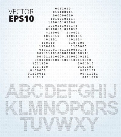 Letter A-Z, font from binary code listing, all alphabet Illustration