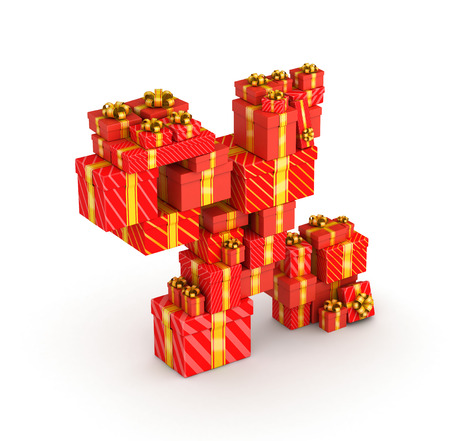 Percent sign from gift boxes in isometric decorated with yellow ribbons photo
