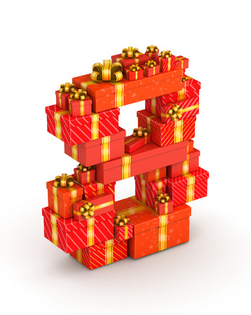 Number 8 from gift boxes in isometric decorated with yellow ribbons Stock Photo - 23110900