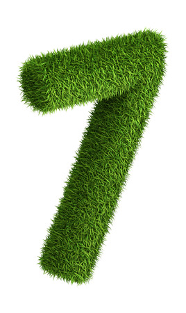 number 7: 3D number 7 photo realistic grass isometric projection Stock Photo