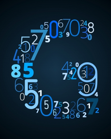 cryptogram: Letter G,  from different numbers typography vector font