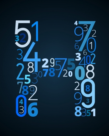 cryptography: Letter H,  from different numbers typography vector font