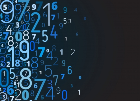 Vector blue background  from different numbers typography with copyspace right