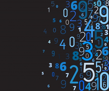 cryptogram: Vector blue background  from different numbers typography with copyspace left Illustration