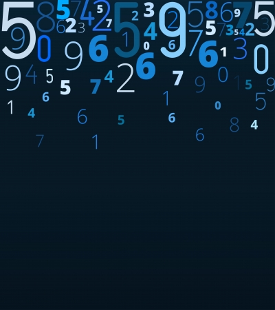 cryptic: Vector blue background  from different numbers typography, copyspace bottom Illustration