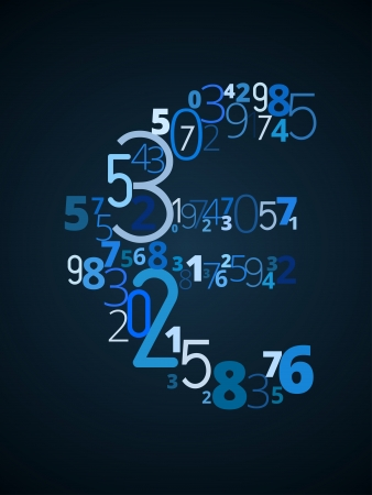cryptography: Euro sign  from different numbers typography vector font Illustration