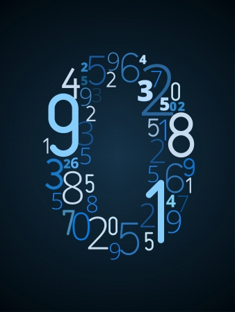cryptogram: Number 0  from different numbers typography vector font