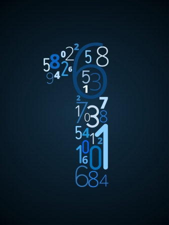 Number 1  from different numbers typography vector font