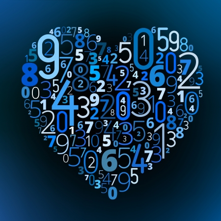 Heart shape  from different numbers vector love math symbol Vector