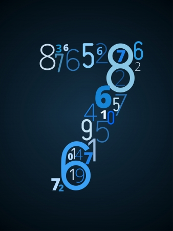 cryptogram: Number 7 from different numbers typography vector font