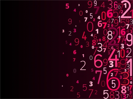 Vector red violet background  from different numbers typography from right Vector