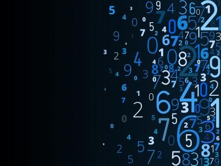 右から異なる番号タイポグラフィから青のベクトルの背景