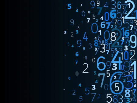 algorithm: Vector blue background  from different numbers typography from right