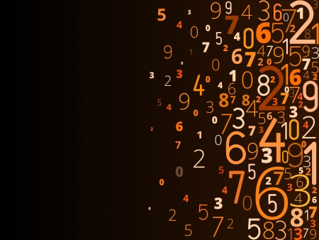 Vector yellow orange background  from different numbers typography from right