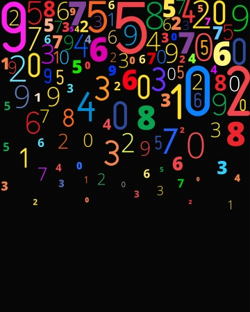 cypher: Colored rainbow vector background  from different numbers typography, copyspace bottom Illustration