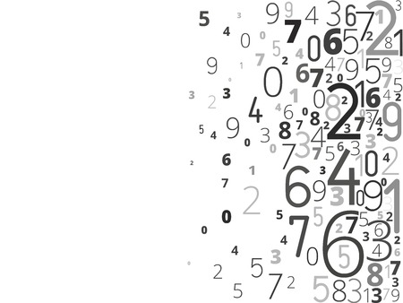 algebra: Vector black background from different numbers typography from right Illustration