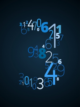 cryptogram: Number 3  from different numbers typography vector font