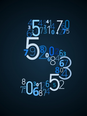 number 5: Number 5 from different numbers typography vector font Illustration