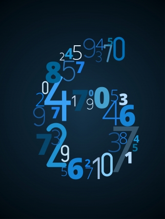 cryptogram: Number 6 from different numbers typography vector font