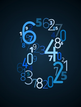 Number  8 from different numbers typography vector font