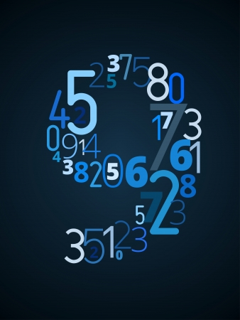 Number  9 from different numbers typography vector font