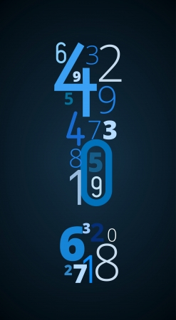 cryptic: Exclamation mark ,  from different numbers typography vector font