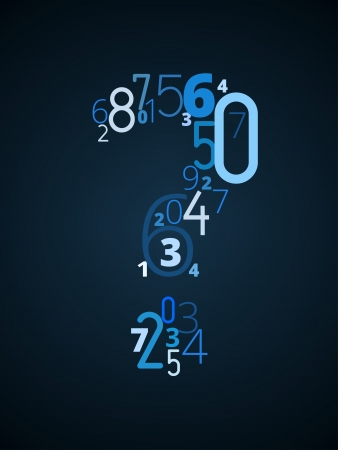 cryptogram: Question mark ,  from different numbers typography vector font