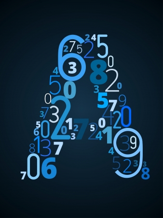 Letter A,  from different numbers typography vector font