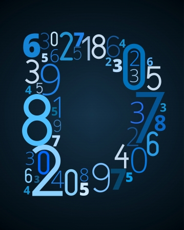 d data: Letter D,  from different numbers typography vector font